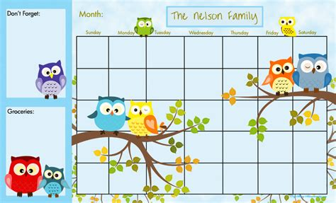 printable owl family calendar personalized dry erase large