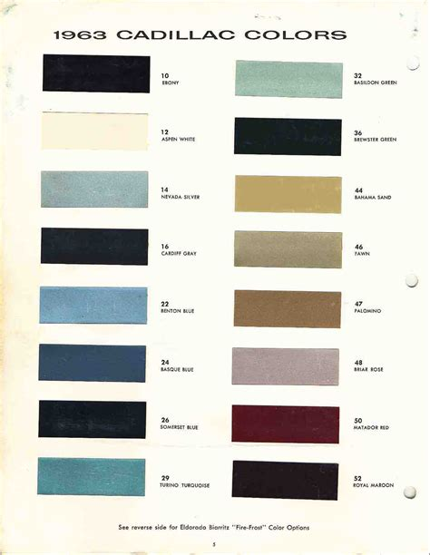 Cadillac Color Codes by Official Cadillac Color Names And Paint Codes Page 4