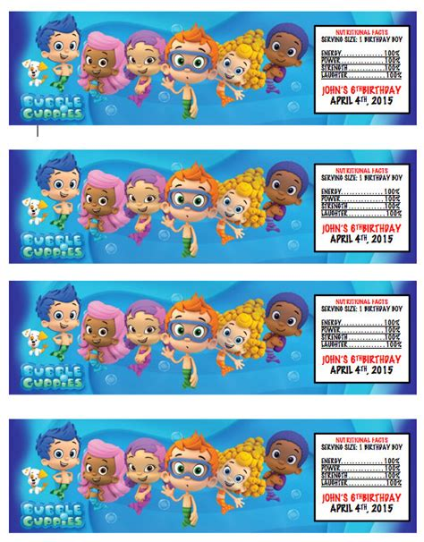 bubble guppies printable water bottle labels party by kjroxton