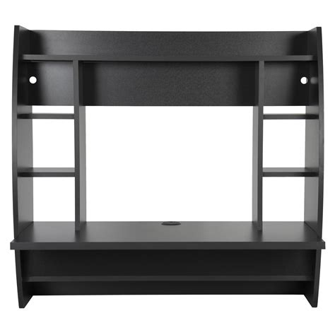 black computer desk with shelves wall mount floating computer desk with storage shelves