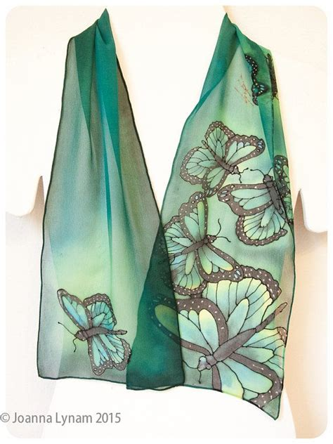 3 Way Scarf Green Butterfly painted silk scarf monarch butterflies green silk scarf handmade silk scarf 8 quot x52 quot gift
