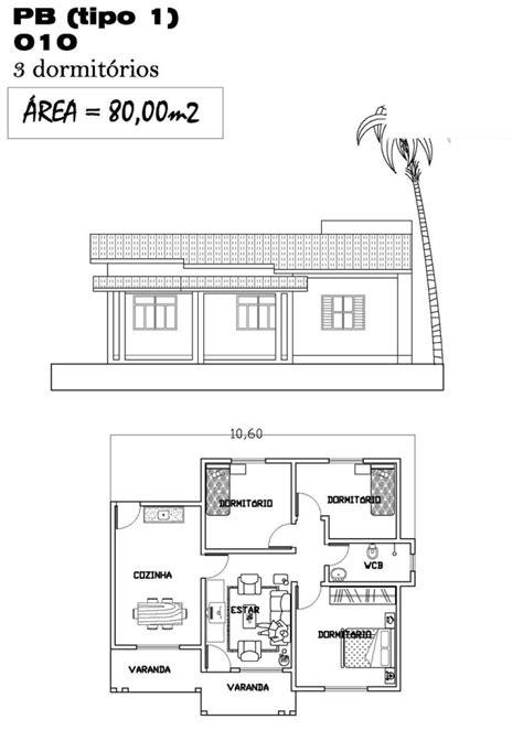 Plantas de casas com 80 m2 - 3 tipos