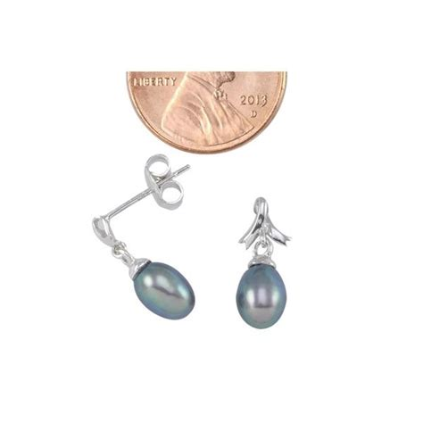 Black Pearl With Ribbon Earrings sterling silver breast cancer ribbon design black