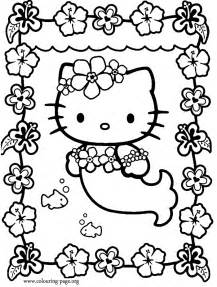 Hello Kitty Dressed As A Mermaid Coloring Page