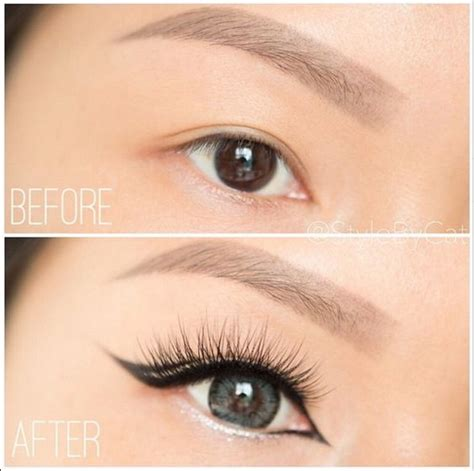 Eyeliner Pixy White this before and after with our pixie luxe lashes makeup
