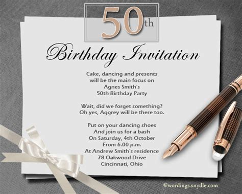 birthday invitation words 50th birthday invitation wording sles wordings and