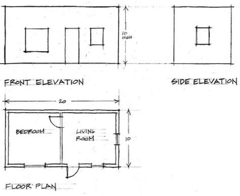 floor plan with elevation and perspective creatinga3dsketchfrom2dplans learningtodrawbuildings