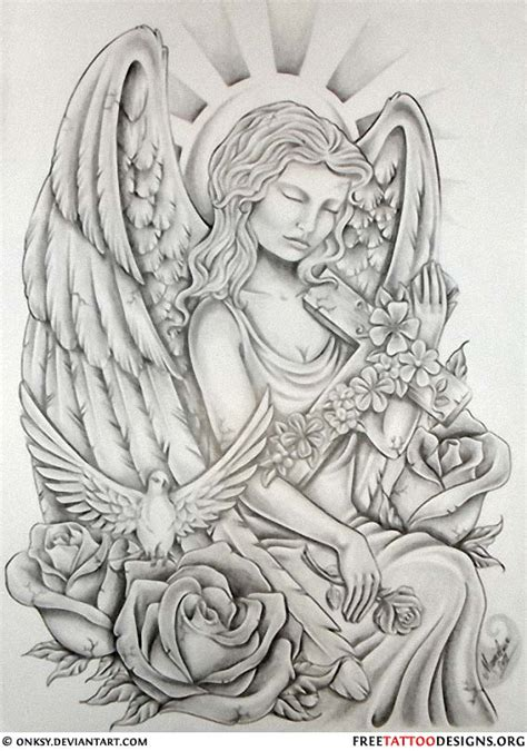 cherub sleeve tattoo designs tattoos wings guardian and st michael