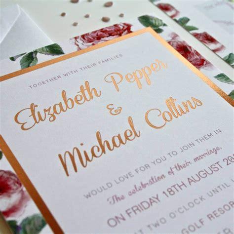 foil print wedding invitations uk floral gold foil wedding invites