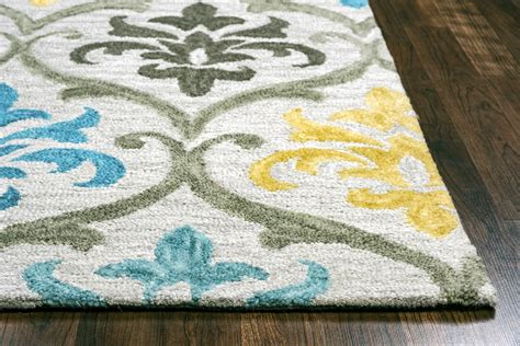 silver wool rug lancaster ornate damask wool area rug in grey silver aqua yellow 8 x 10