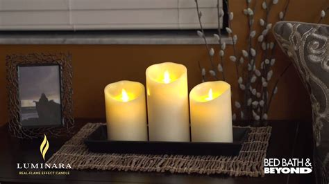 bed bath and beyond candles luminara flicker pillar candles at bed bath beyond youtube