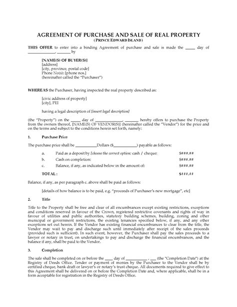 sle purchase agreements pei real estate purchase sale agreement forms
