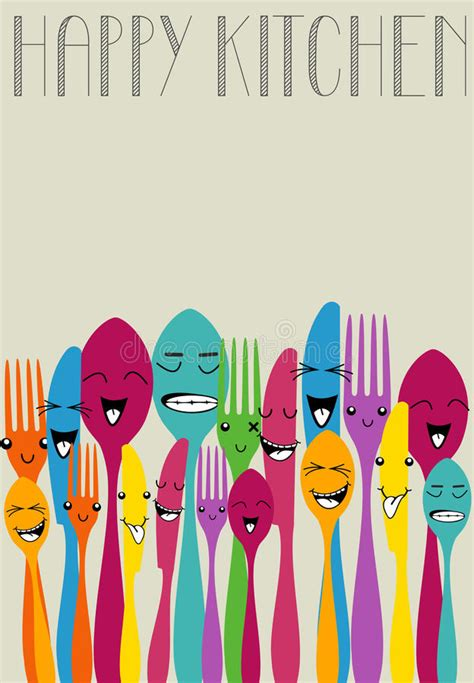 colorful silverware happy color cutlery stock vector image of colorful