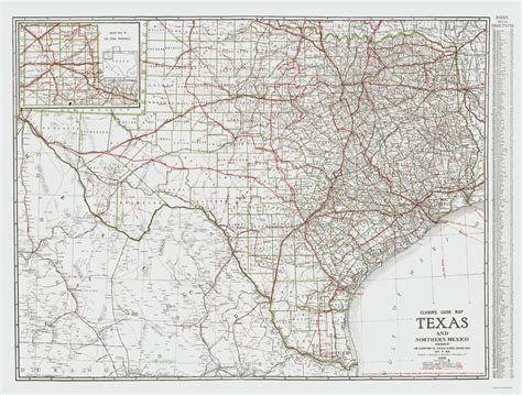 map of northern texas state maps texas and northern mexico tx by clason 1931