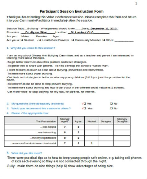 conference evaluation form in word 8 sle conference evaluation forms in word sle