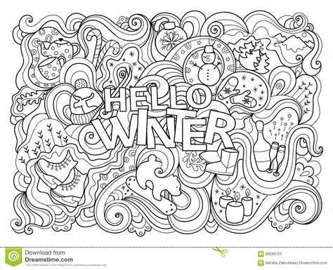 cute winter coloring pages winter coloring page stock vector illustration of black