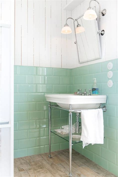 shiplap  ceramic tile wals  bad bathroom mint