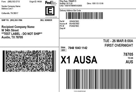 fedex label template word image gallery shipping label