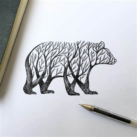 poetic illustrations depict magic scene that trees sprout