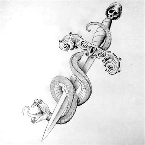 snake around dagger tattoo design