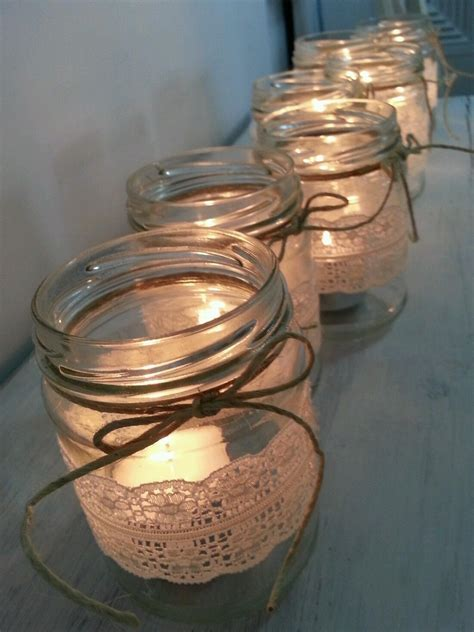 10 Rustic Lace Glass JAR Candle Holder Wedding Christmas