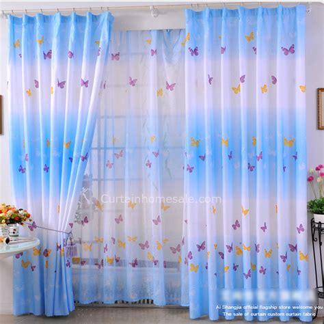 blue butterfly cheap living room or bedroom curtains in sale
