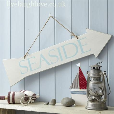 Nautical Bathroom Accessories Uk Distressed Wooden Arrow Sign Seaside