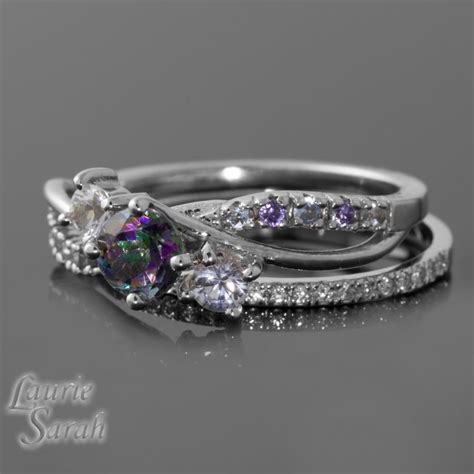 mystic topaz engagement ring with white unique rings gallery