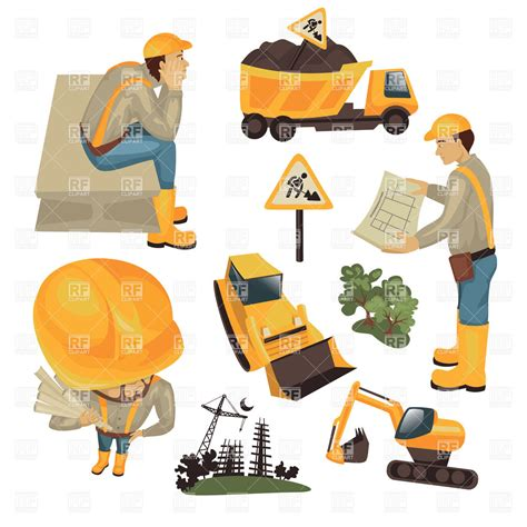 site clipart construction site workers and technics royalty