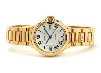 Gold Geneva Small Case Classic Roman Dial Women's Bracelet Watch ? ShowTime Collection