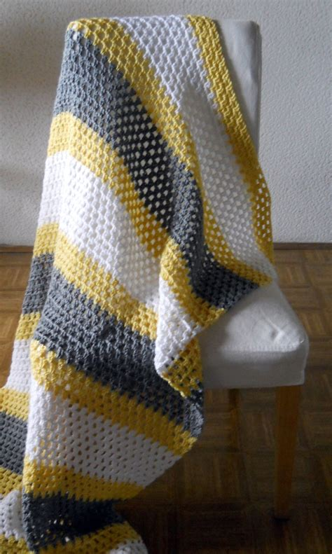 yellow pattern blanket personalized striped throw blanket afghan white grey