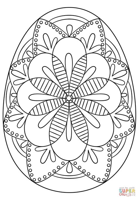 intricate easter egg coloring page  printable