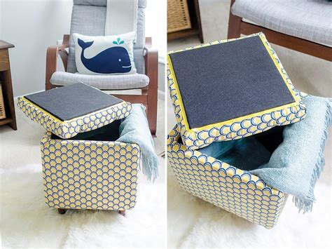 how to make an ottoman diy tutorial how to make a diy storage ottoman part 2
