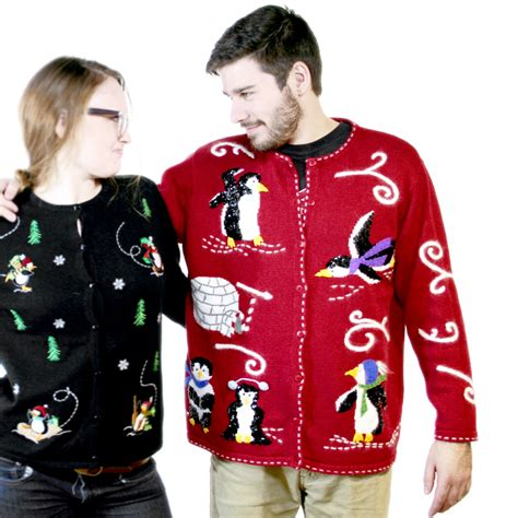 sequin penguins tacky ugly christmas sweater the ugly