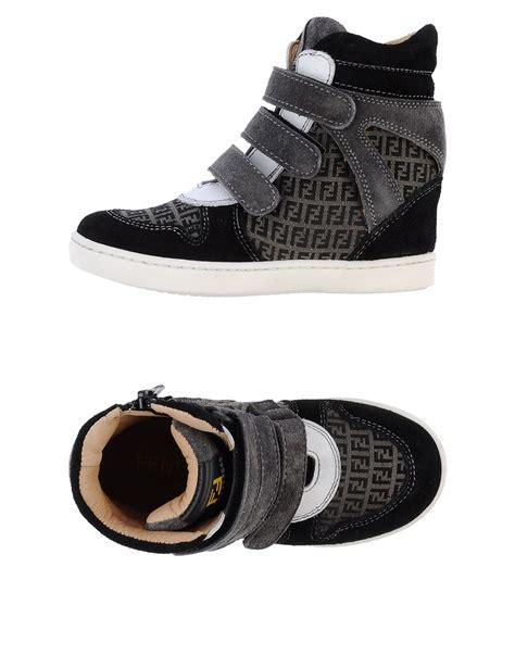 fendi high top sneakers fendi high top printed suede sneakers in black lyst