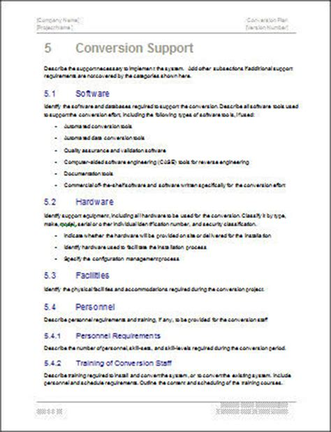 conversion plan template conversion plan template technical writing tips