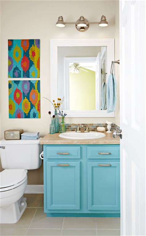 Small Bathroom Updates by Small Bathroom Update With A Pop Of Color Bathroom Other Metro By Lowe S