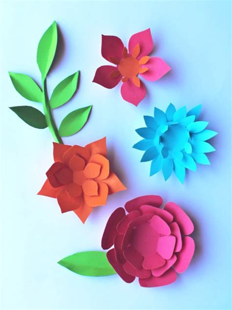Flower Paper Craft Template - beautiful decorations for celebrations and fiestas