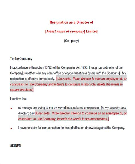 Director Resignation Acceptance Letter By The Company 65 Sle Resignation Letters