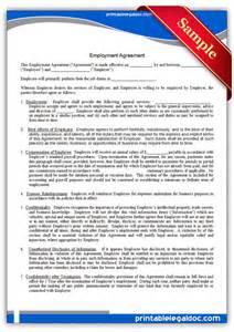 free printable employment agreement form generic