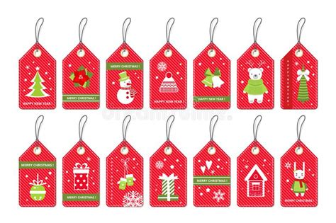 set merry christmas gift tags stock vector illustration  background happy