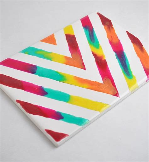 interesting craft projects decoart crafts rainbow glass stained chevron tile