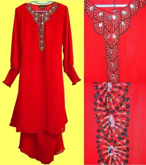 Baju Banduan Warna Merah akar serai baju moden warna merah potongan harga