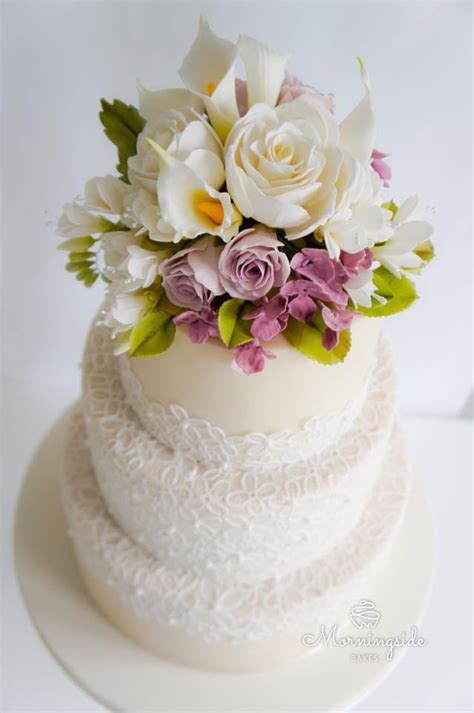 Wedding Cake Edible Lace by Wedding Cakes And Sugar Flowers In Lanarkshire