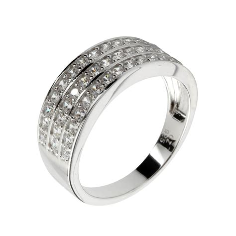 Set Chanell Silver channel set cz sterling silver ring rhodium plated
