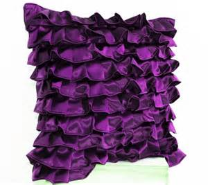 purple satin ruffle pillow decorative pillow purple ruffle