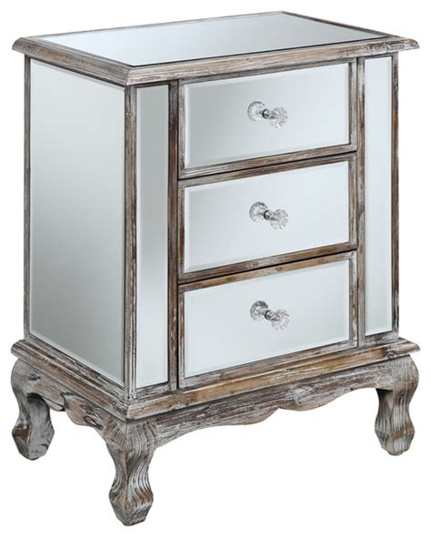 Coast Vineyard 3 Drawer Mirrored End Table   Traditional