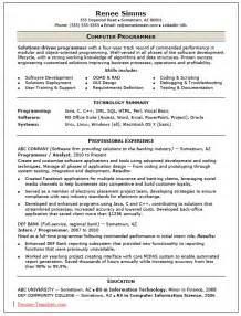 free skilled computer programmer resume template sample