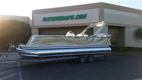 pontoon boat wrap gator wraps - Pontoon Boat Vinyl Wraps