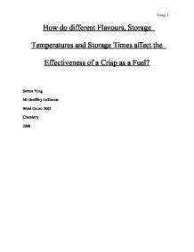 Extended Essay Title Page Exle by Extended Essay How Do Different Flavours Storage Times Affect The Effectiveness Of Crisps As A